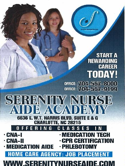 Serenity Nursing Aide Academy In Charlotte Nc 6636 E Wt Harris
