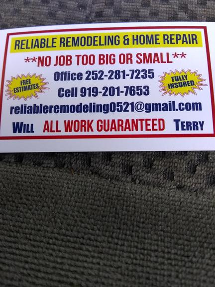 Reliable Remodeling Home Repair In Kenly NC S Darden St - Reliable remodeling